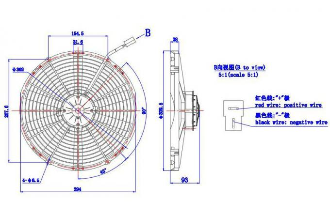 Bus Air Conditioning Parts, 24v/12v Electric Radiator Fan For Universal Bus